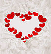 Illustration Floral Background With Crumpled Paper Hearts For Valentines Day - Vector
