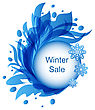 Illustration Floral Blue Frame With Snowflakes, Winter Sale - Vector