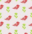 Illustration Floral Seamless Pattern With Abstract Birds And Flowers, Vintage Background - Vector stock vector