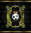 Illustration Football Label With Golden Crown - Vector