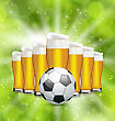 Illustration Football Poster With Glasses Of Beer And Soccer Ball. Glowing Sport Background - Vector stock vector