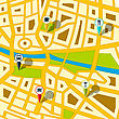 Generic Street Map With Indication Icons.
