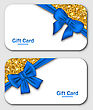 Illustration Gift Cards With Blue Bow Ribbon And Golden Surface. Template For Holiday Cards, Invitations, Discount Design - Vector