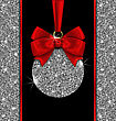 Illustration Glitter Card With Christmas Ball And Red Bow Ribbon With Silver Surface And Twinkle, Dark Glowing Background - Vector