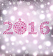 Illustration Glitter New Year Card With Snowflakes, Magic Background - Vector