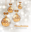 Illustration Glowing Celebration Card With Set Christmas Balls - Vector stock vector