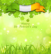 Illustration Glowing Nature Background With Clovers, Grass And Irish Flag For St. Patricks Day - Vector