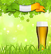 Illustration Glowing Nature Background With Glass Of Beer, Clovers, Grass And Irish Flag For St. Patrick's Day - Vector