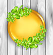 Illustration Golden Coin With Shamrocks. St. Patrick's Day Symbol, Wooden Texture - Vector