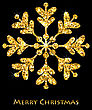 Illustration Golden Merry Christmas Sparkle Snowflakes, Dark Luxury Background - Vector