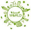 Illustration Green Futuristic World, Concept. Environment With Solar Panels And Wind Generators - Vector