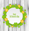 Illustration Greeting Card With Clovers And Golden Coins For St. Patrick's Day - Vector