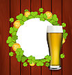 Illustration Greeting Card With Glass Of Light Beer, Shamrocks And Golden Coins For St. Patrick's Day - Vector