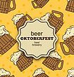 Illustration Greeting Card For Oktoberfest Party, Seamless Pattern With Wooden Foam Beer Mugs - Vector