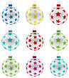 Illustration Group Christmas Colorful Glass Balls With Texture Of Stars, Isolated On White Background - Vector stock vector
