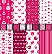 Illustration Group Of Love And Romantic Seamless Backgrounds. Valentine Day Patterns With Pink And White Colors - Vector