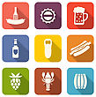 Illustration Group Minimal Colorful Icons Of Beers And Snacks - Vector stock illustration