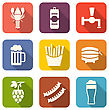 Illustration Group Minimal Colorful Icons Of Beers And Snacks - Vector