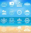 Illustration Group Summer Holidays Labels, Design Elements And Typography. Template For Logo - Vector