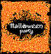 Illustration Grunge Dirty Frame For Halloween Party. Glitter Orange Background - Vector
