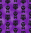 Illustration Halloween Abstract Seamless Texture With Owl Birds And Skulls Bones - Vector