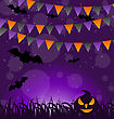 Illustration Halloween Background With Pumpkins And Hanging Flags - Vector