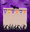 Illustration Halloween Card With Hanging Flags - Vector