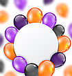 Illustration Halloween Card With Orange, Violet And Black Balloons. Festival Decoration. Copy Space For Your Text - Vector