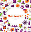 Illustration Halloween Card. Set Of Bright Signs, Icons And Objects. Trick Or Treat - Vector