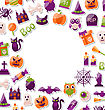 Illustration Halloween Clean Card With Place For Your Text. Set Of Bright Signs, Icons And Objects. Trick Or Treat - Vector