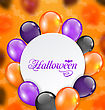 Illustration Halloween Greeting Card With Colored Balloons - Vector