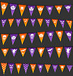 Illustration Halloween Hanging Flags With Different Symbols - Vector
