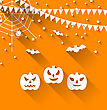 Illustration Halloween Paper Background With Pumpkins Bats, Spyder, Web And Bunting Pennants, Trendy Flat Style - Vector