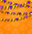 Illustration Halloween Party Background With Colored Bunting Pennants, Backdrop With Pumpkins - Vector