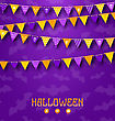 Illustration Halloween Party Background With Colored Bunting Pennants - Vector