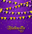 Illustration Halloween Party Background With Hanging Triangular String - Vector