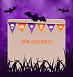 Illustration Halloween Party Card With Hanging Flags - Vector