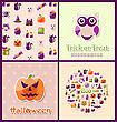 Illustration Halloween Postcards. Set Banners. Party Invitations With Flat Icons. Trick Or Treat - Vector