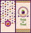 Illustration Halloween Postcards. Vertical Banners. Party Invitations With Flat Icons. Trick Or Treat - Vector