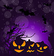 Illustration Halloween Scary Pumpkins, Outdoor Background - Vector stock illustration