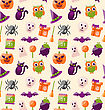 Illustration Halloween Seamless Pattern With Colorful Flat Icons. Abstract Holiday Wallpaper - Vector