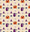 Illustration Halloween Seamless Pattern With Colorful Traditional Icons - Vector