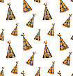 Illustration Halloween Seamless Pattern With Party Hats, Holiday Decoration - Vector
