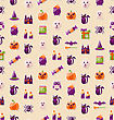 Illustration Halloween Seamless Texture With Colorful Flat Icons. Abstract Template For Wrapping - Vector