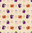 Illustration Halloween Seamless Texture With Colorful Flat Icons. Abstract Background - Vector