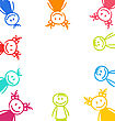 Illustration Hand-drawn Cute Funny Kids, Colorful Girls And Boys - Vector