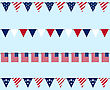 Illustration Hanging Bunting Pennants For Independence Day USA, Set Traditional Flap Flags - Vector stock illustration