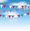 Illustration Hanging Bunting Pennants In National American Colors For Holidays, Blue Sky With Clouds - Vector