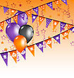 Illustration Hanging Flags And Balloons For Halloween Party - Vector