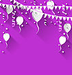 Illustration Happy Birthday Background With Balloons And Hanging Buntings, Trendy Flat Style With Long Shadows - Vector